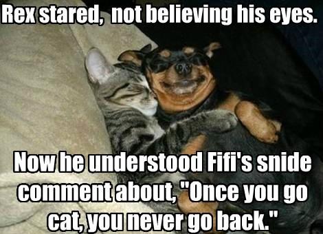 Fifi gets some kitty treats.