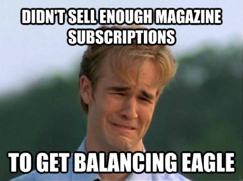 Internet meme - DIDNT SELLENOUGH MAGAZINE SUBSCRIPTIONS TO GET BALANCING EAGLE