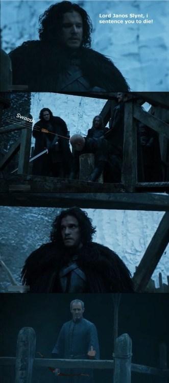 game of thrones memes Stannis gets his revenge on Jon Snow