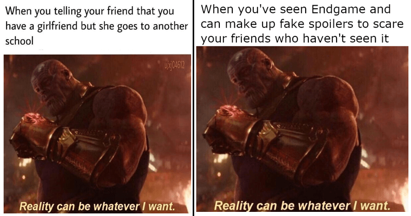 "Funny memes, avengers memes, disney, marvel, mcu, thanos ""reality can be whatever i want"" josh brolin."