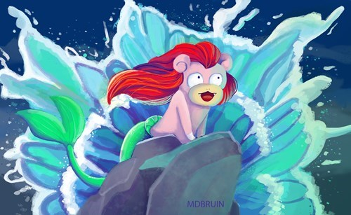 crossover Pokémon disney Fan Art The Little Mermaid slowpoke - 8491428096