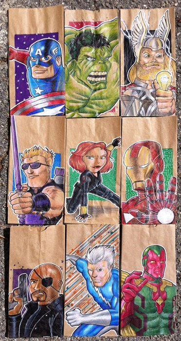 school lunch bag drawing the avengers