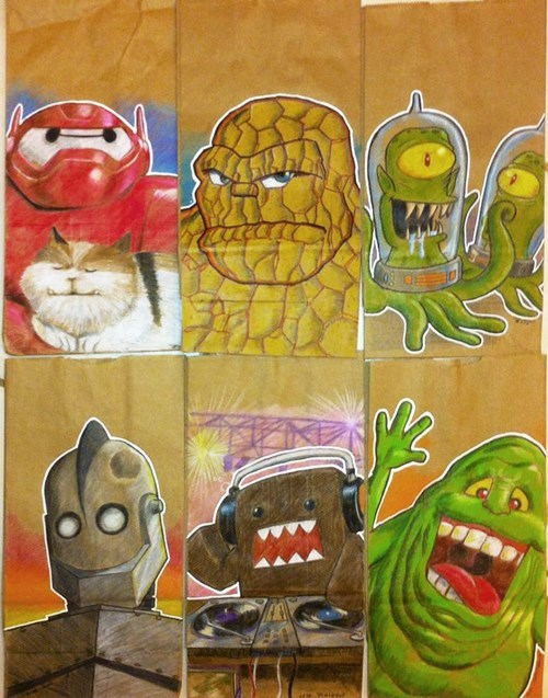 school lunch bag drawing pop-culture-characters