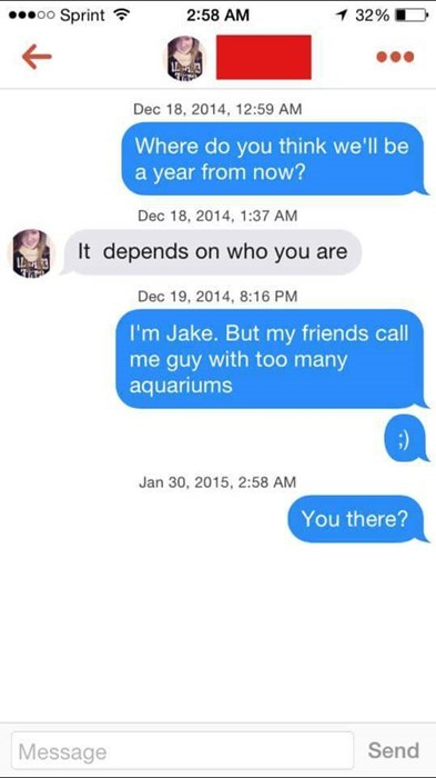 dating tinder text He'll Be Swimming With the Fishes