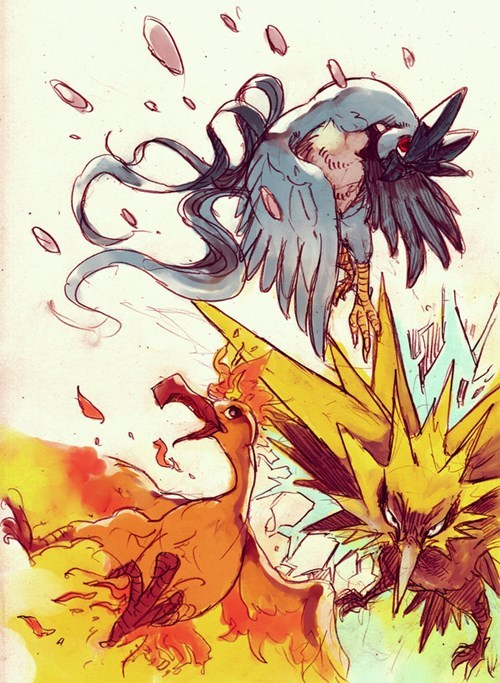 pokemon memes legendary bird trio fan art