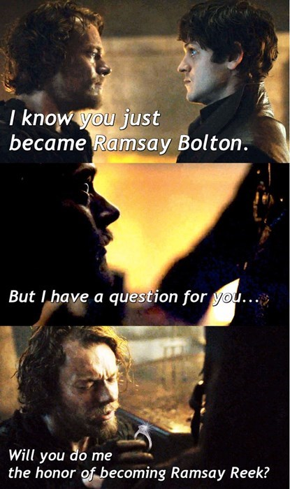 Game of thrones memes season 5 Theon finally proposes to Ramsay Snow.