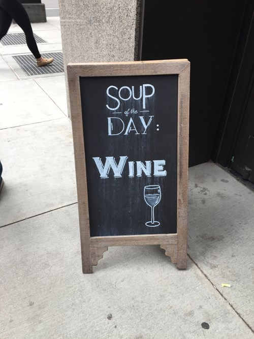 drinking wine sign sounds nutritious