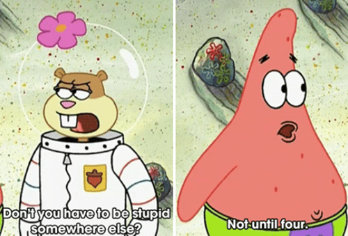cartoon memes spongebob stupid somewhere else