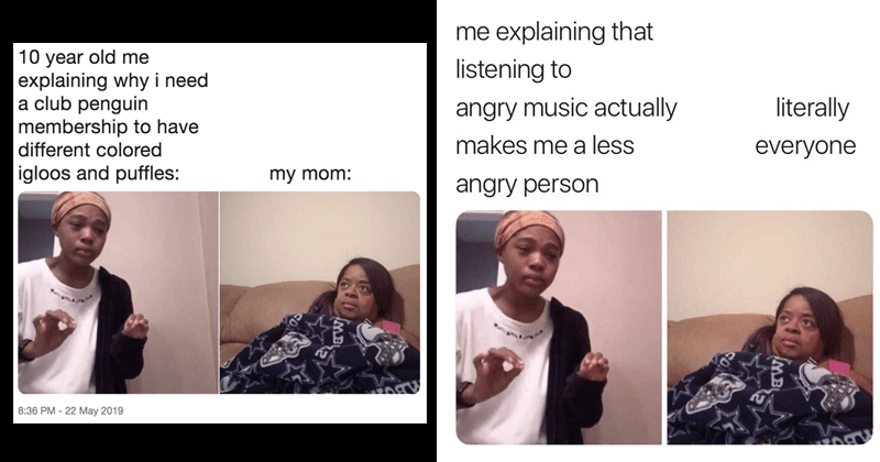 "Funny Twitter meme, ""me explaining to my mom"", little women: atlanta, childhood, parents, mamma mia."