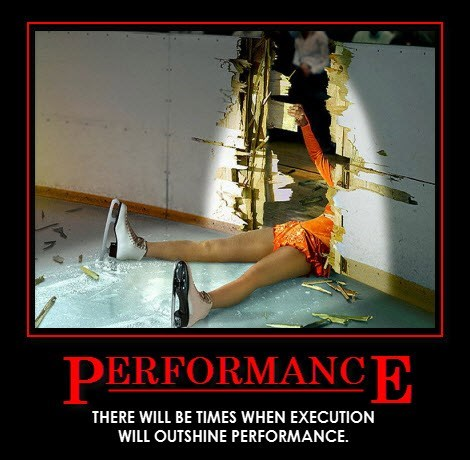 Demotivational funny performance What a Stunning Landing