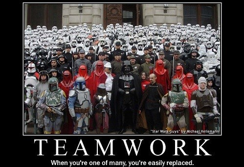 "demotivational teamwork image There's No ""I"" in ""Replaceable"""