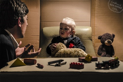 parenting cute movies Classic Movie Scenes Recreated With Cardboard and a Baby