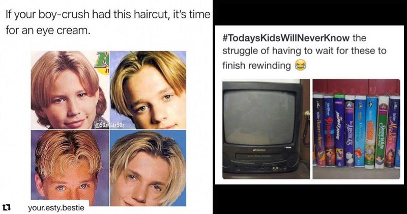 Nostalgic '90s | If boy-crush had this haircut s time an eye cream. Curtain bangs | #TodaysKidsWillNeverKnow struggle having wait these finish rewinding Disney video tapes Aladdin Snow White DUMBO ARISTOCATS MUPPET MOVE PINOCCHIO Beauty Beast
