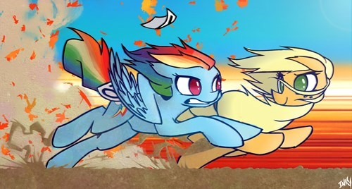 applejack,race,rainbow dash