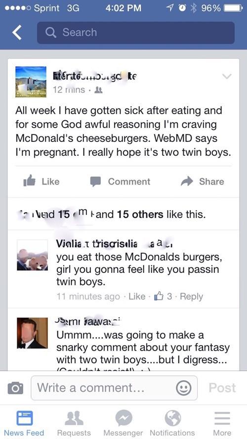 McDonald's food pregnant fast food - 8498795520