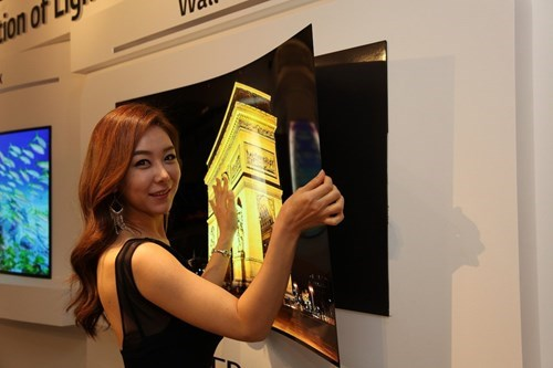 science technology TV This Bendable TV Will Stick To Walls Like a Magnet