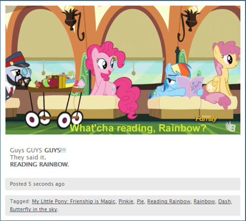 pinkie pie,reading rainbow,rainbow dash