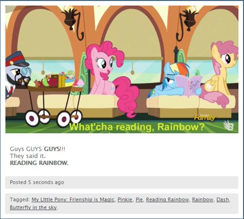 pinkie pie reading rainbow rainbow dash - 8500072704