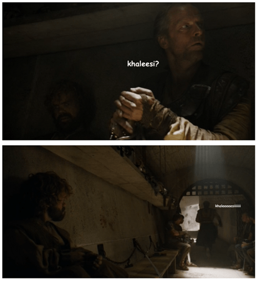 Game of thrones memes season 5 Jorah and khaleesi sitting in a tree.