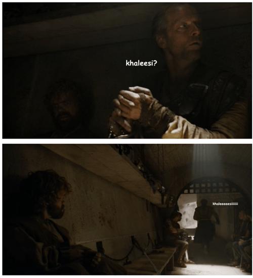 Game of thrones memes season 5 Jorah and khaleesi sitting in a tree.
