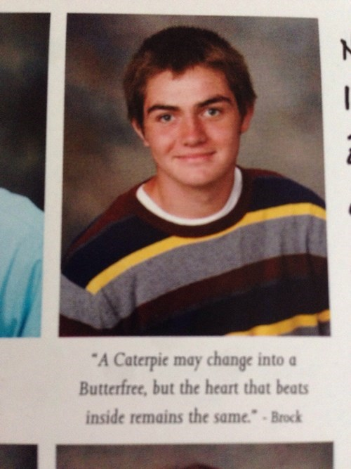 pokemon memes brock caterpie yearbook quote