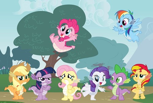 spike,applejack,twilight sparkle,pinkie pie,rarity,sunset shimmer,fluttershy,rainbow dash