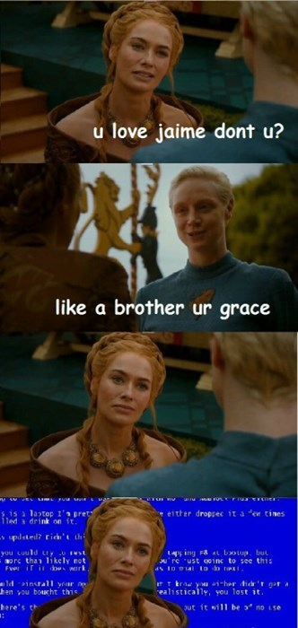 game of thrones memes season 5 Brienne doesn't understnad the concept of love.