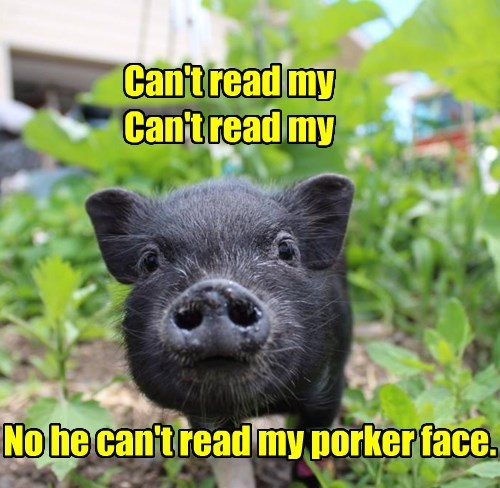 Can't read my Can't read my No he can't read my porker face.
