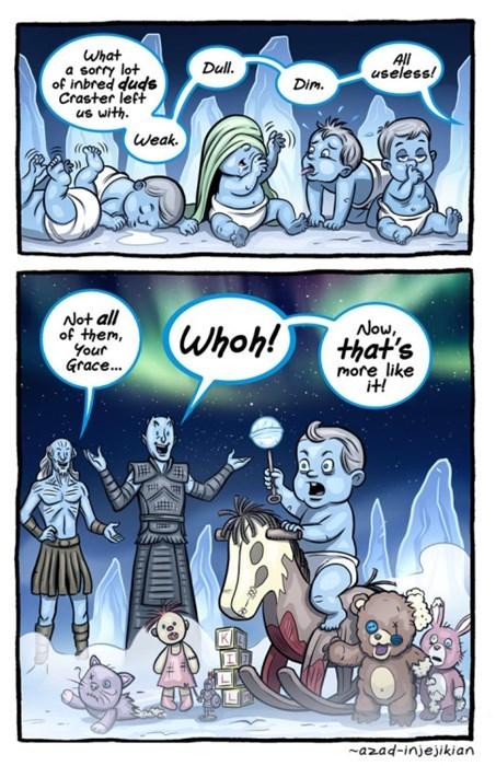 game of thrones memes season five white walker babies get rocking horses.