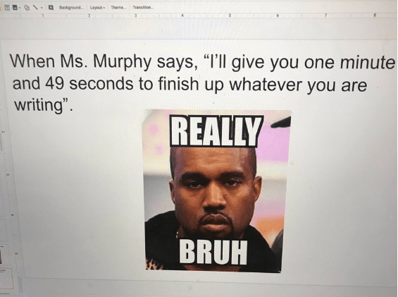 students submit memes about the teacher