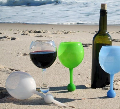 drinking summer cool accessories This Wine Glass Floats and Sticks in Sand for All Your Summer Needs