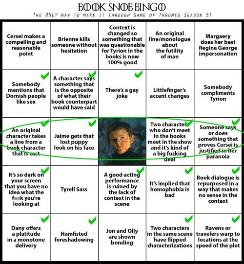 game of thrones memes season 5 book snob bingo