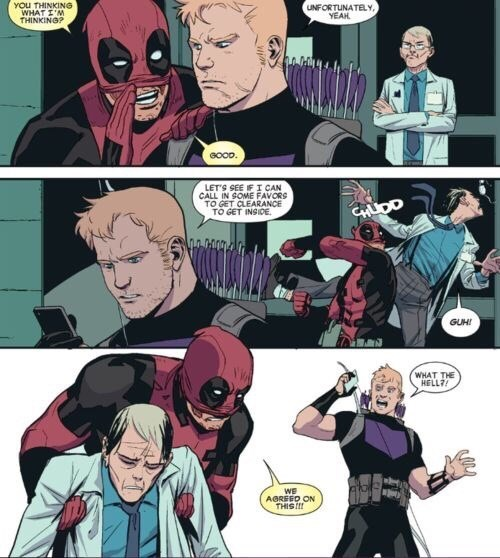 superheroes-deadpool-hawkeye-marvel-thinking-what-im-thinking-panel