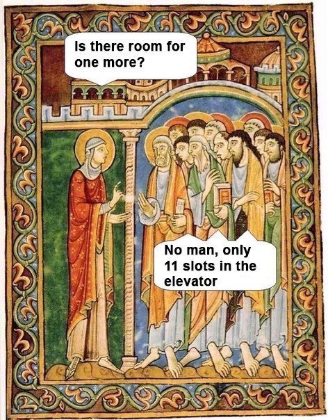 classical art memes from medieval times - History - Is there room for one more? No man, only 11 slots in the elevator