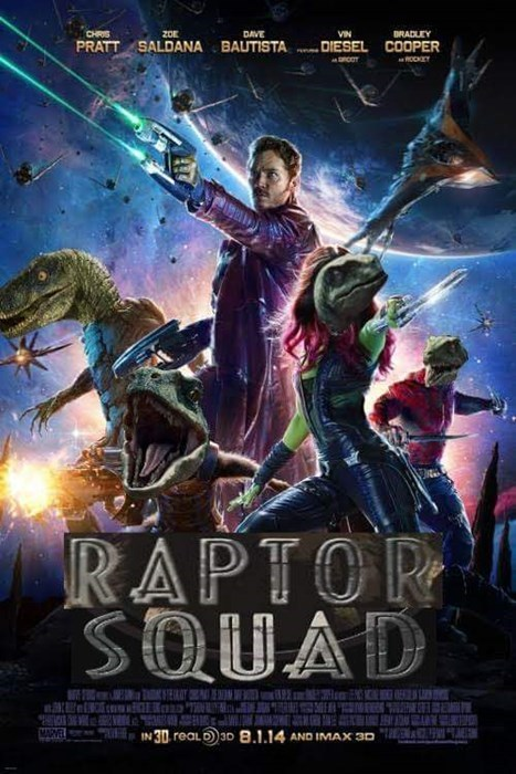 superheroes-guardians-of-the-galaxy-marvel-meme-chris-pratt-jurassic-world-raptor-poster