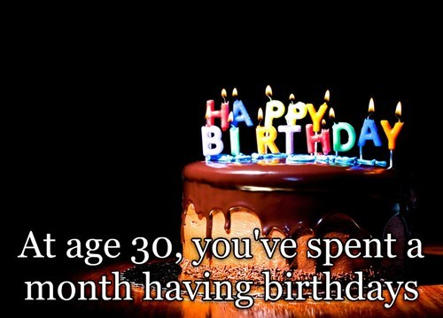 shower thought meme about how you've had a month of birthdays by age 30