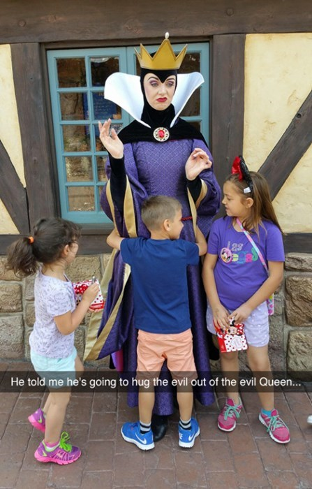 cartoon memes kid hugs evil queen disneyland
