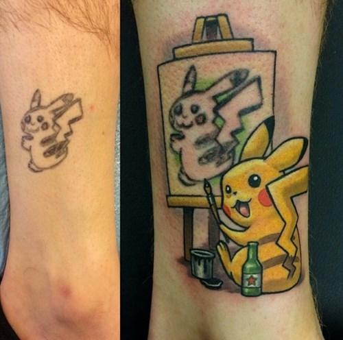 pokemon memes drunk pikachu tattoo