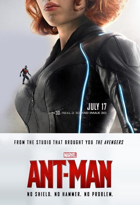 closeup of black widow's chest with tiny ant man scaling her breasts superheroes-ant-man-marvel-black-widow-spoof-poster from the studio that brought you the avengers marvel ant-man no shield no hammer no problem