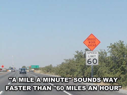 Funny deep thoughts meme about how a mile-a-minute sounds faster than 60 mph.