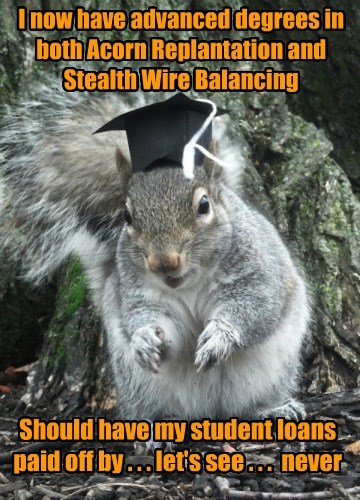 I now have advanced degrees in both Acorn Replantation and Stealth Wire Balancing Should have my student loans paid off by . . . let's see . . . never