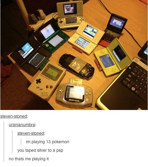 Product - steven-stoned: uranianumbra: steven-stoned: im playing 13 pokemon you taped silver to a psp no thats me playing it