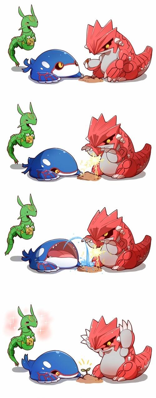 pokemon memes kyogre groudon rayquaza chibi planting