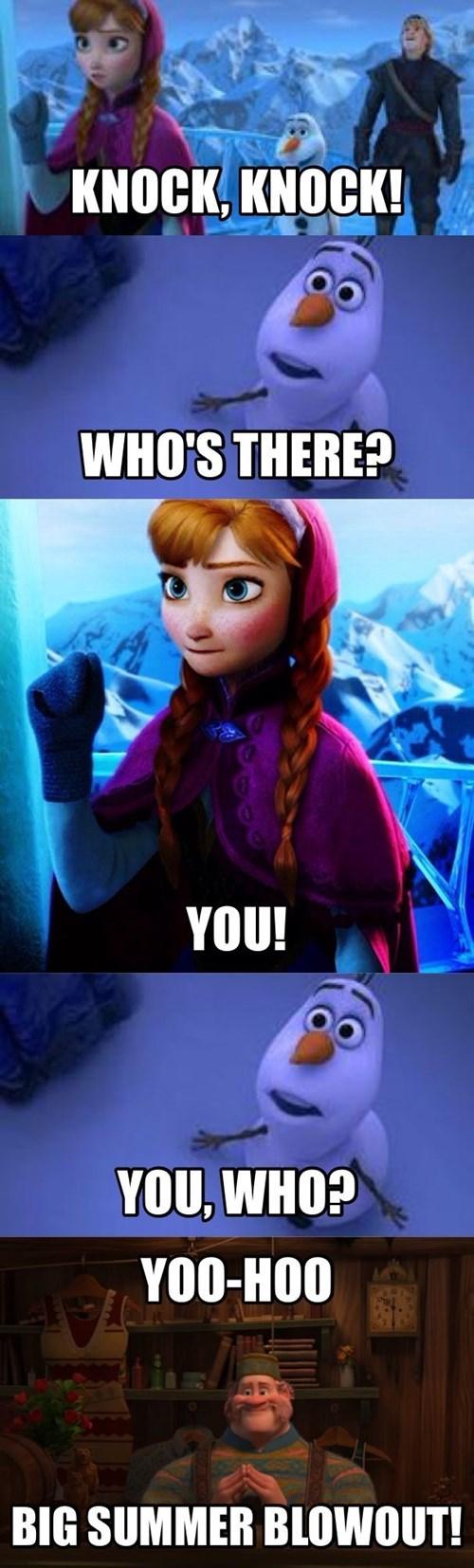cartoon memes frozen knock knock big summer blowout