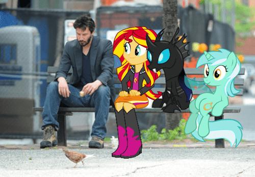 MLP Memes sad keanu bench - 8511196672