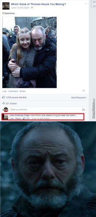 Game of thrones memes season 5 Davos spoke too soon.