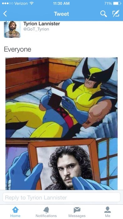 Game of thrones memes season 5 wolvie misses jon snow