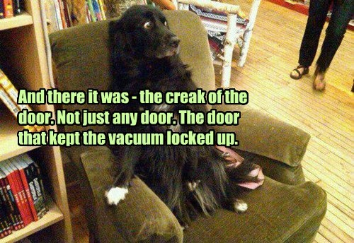 And there it was - the creak of the door. Not just any door. The door that kept the vacuum locked up.