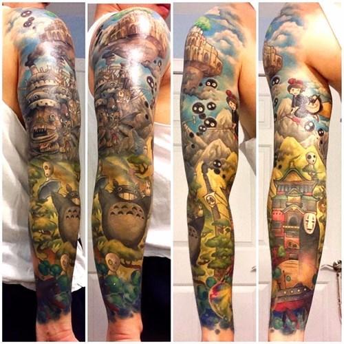 anime memes studio ghibli tattoo sleeve