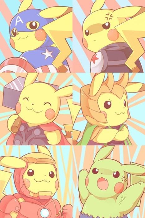 pokemon memes pikachu avengers fan art